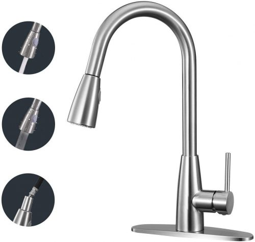 Kitchen Faucet Single Handle High Arc Faucet with Pull Down Sprayer, Modern Commercial Dual Function Kitchen Sink Faucet with 2 Spray Modes, 360° Swivel Arc Gooseneck