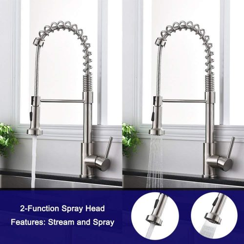 Single Lever Pull Down Kitchen Sink Faucets Modern Commercial Spring Brushed Nickel Pull Out Sprayer Single Handle Kitchen Faucet