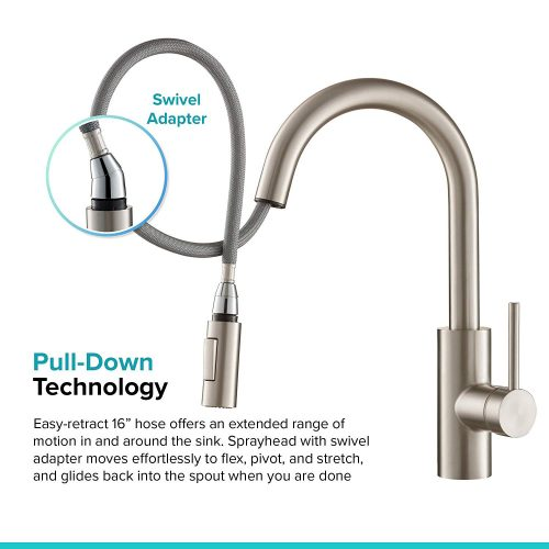 Modern Single Lever Pull Down Kitchen Faucet Spot Free Stainless Steel