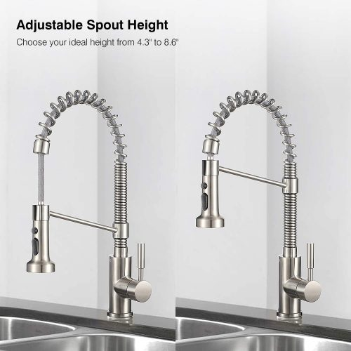 Kitchen Faucets Lead-Free Commercial Solid Brass Single Handle Single Lever Pull Down Sprayer Spring Kitchen Sink Faucet, Brushed Nickel