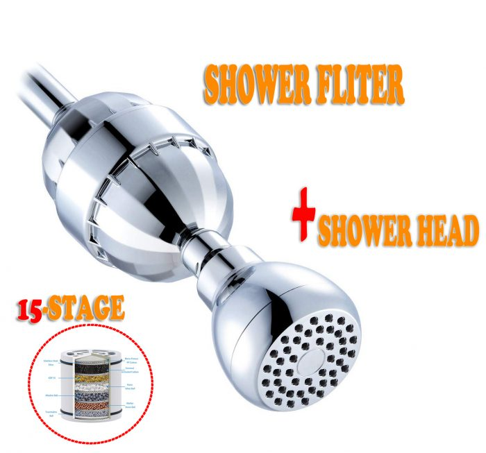15 Stages Shower Water Filter With Showerhead - Removes Chlorine Fluoride Lead Heavy Metals, Softens Hard Water, Multi-stage Filtration, Tffectively Shield Impurities Fit Any Showerhead