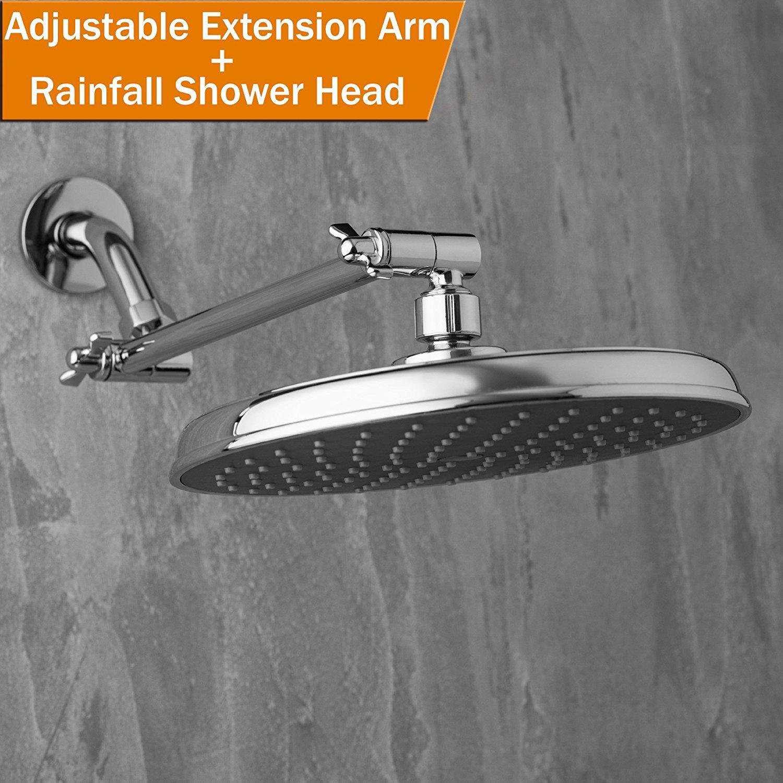 Rainfall Shower Head 9 Inch Round Rain Shower Head With Angle Adjustable Shower Arm Extension Polished Chrome G1 2 Bathroom Rainfall Showerhead Awsso Faucet