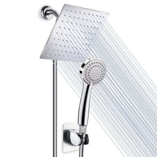 "High Pressure 8"" Rainfall Stainless Steel Shower Head/Handheld Combo with 60"" Hose Anti-leak Shower head Powerful Spray with Bracket, Flow Regulator, Chrome, 4 Shower Hooks"