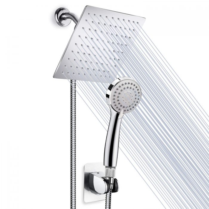 High Pressure 8'' Rainfall Stainless Steel Shower Head/Handheld Combo with 60'' Hose Anti-leak Shower head Powerful Spray with Bracket, Flow Regulator, Chrome, 4 Shower Hooks