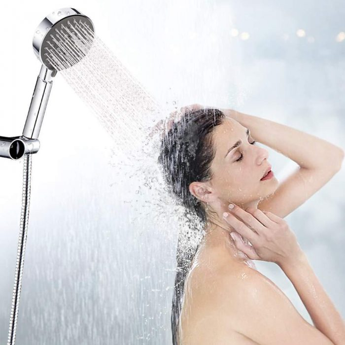 Shower Head with Hose, Shower Head Universal Fitting with Adjustable 5 Sprays Modes Bath Shower Head Handheld Handset Chrome Luxury with Massage Experience