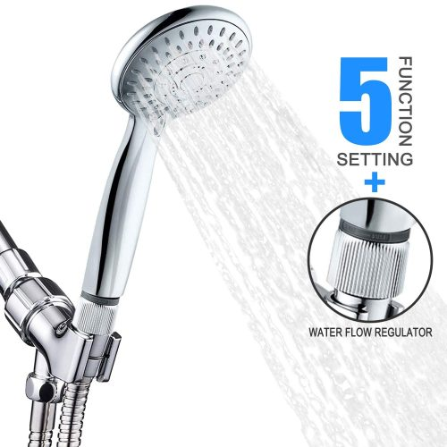Handheld Shower Head with Flow Regulator, Easy to Control Water Pressure and Water Flow, High Pressure 5 Spray Settings Handheld Showerhead with 5 Feet Hose Adjustable Bracket, Chrome