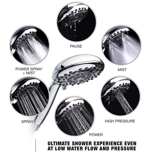 High Pressure Handheld Shower Head 6-Setting – Luxury 5″ Hand held Rain Shower with Hose – Powerful Shower Spray Even with Low Water Pressure in Supply Pipeline – Low Flow Rainfall Showerhead