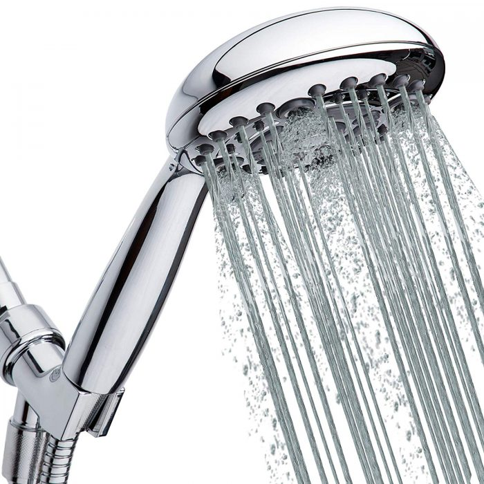 """Handheld Shower Head 6-Setting - Luxury 5"""" Hand held Rain Shower with Hose - Powerful Shower Spray Even with Low Water Pressure in Supply Pipeline - Low Flow Rainfall Showerhead"""