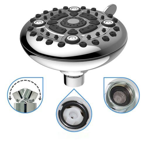 High Pressure Shower Head – 6-Function Adjustable Shower Head For Low Flow Showers – Wall Mount Fixed Showerhead – High Flow Shower-head – Powerful Multifunction SPA Shower System – Chrome