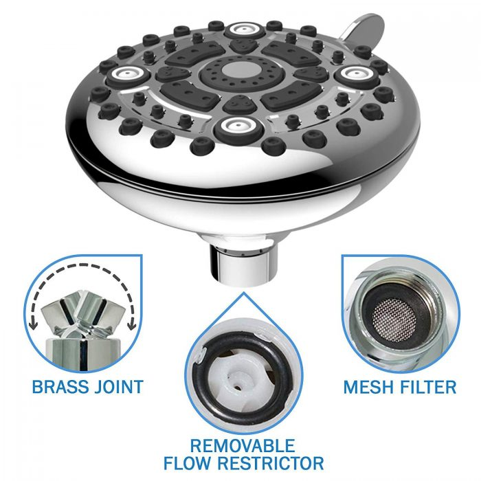 High Pressure Shower Head - 6-Function Adjustable Shower Head For Low Flow Showers - Wall Mount Fixed Showerhead - High Flow Shower-head - Powerful Multifunction SPA Shower System - Chrome
