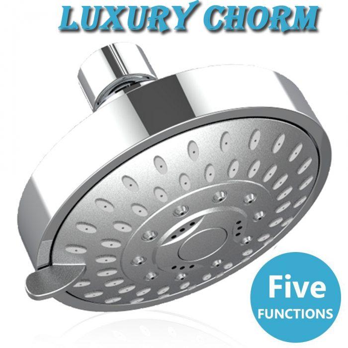 Shower Head High Pressure 4 Inch Showerhead 5-setting Adjustable Shower Head, Rain Shower Head 2.5 gpm Showerhead Flow Restrictor High Flow Shower Heads (Chrome)